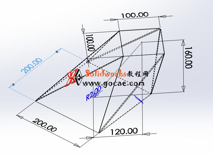 每日一练:#66 上口扭转45度,倾斜方锥管 矩形换向连接管 solidworks 薄板放样 | 钣金视频教程