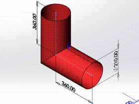 每日一练:#70 两节等径圆柱弯头 solidworks 薄板放样 | 钣金视频教程