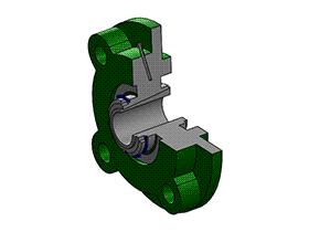 solidworks 标准件 #5 UKFC+H 带凸台圆形座外球面球轴承 GB╱T 7810 3D模型零件库 标准查询