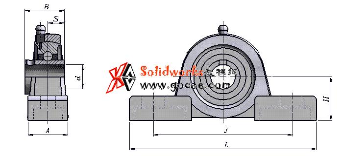 solidworks 标准件 #62  UCP系列 带座外球面球轴承 滚动轴承 GB/T 7810-2017 外形尺寸 solidworks 3D模型 三维零件库 最新标准查询