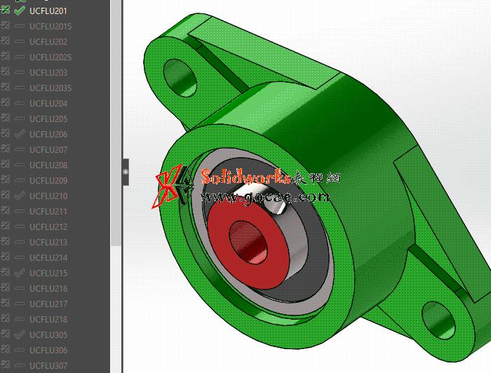 solidworks 标准件 #87 UCFLU系列 带菱形座轴承  GB/T 7810-2017 外形尺寸 solidworks 3D模型 最新标准查询