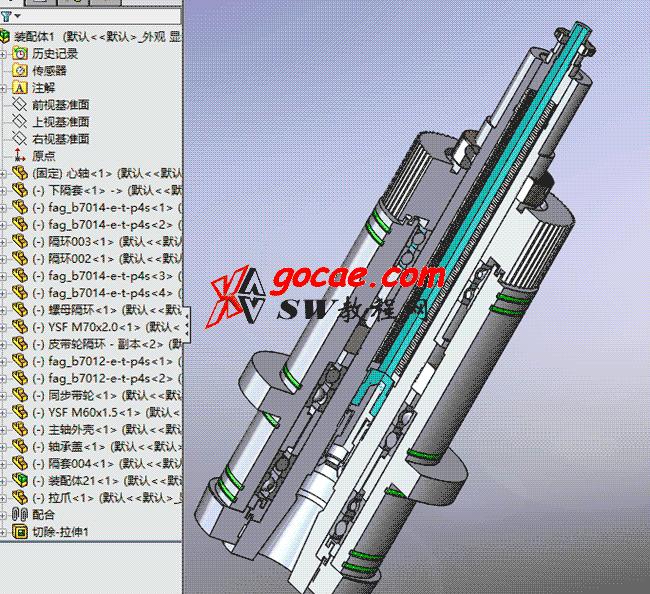 如何用solidworks画BT40的主轴结构 / 立式加工中心主轴结构原理