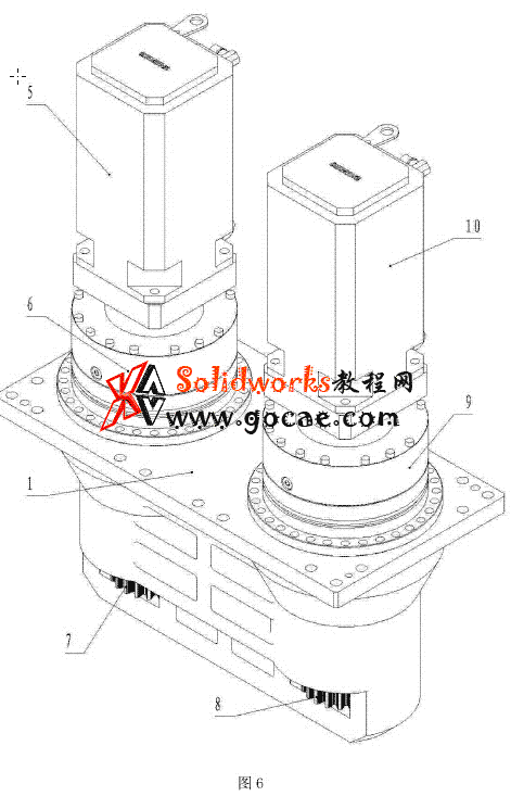 大行程机床行走传动 双电机消隙齿轮箱一体式支架
