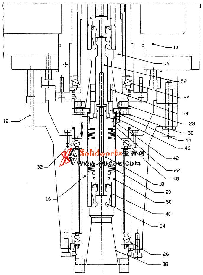 龙门铣床主轴头 延长附件头结构