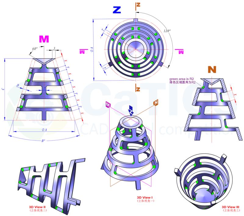 CaTICs竞赛 第13届 3D13-H02 solidworks 3D建模试题 第十三届网络赛