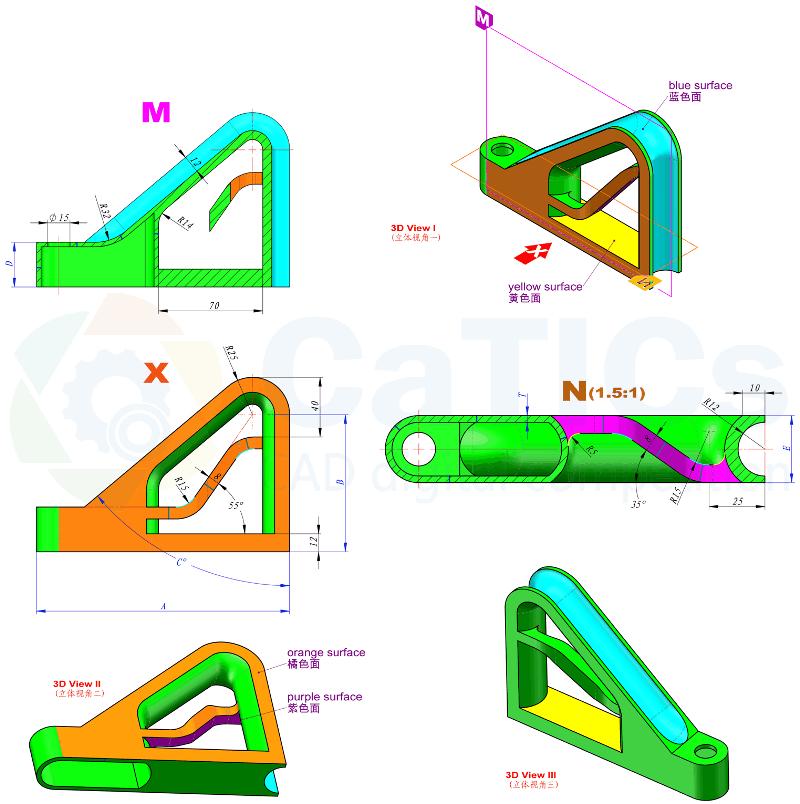 CaTICs竞赛 第13届 3D13-H05 solidworks 3D建模试题 第十三届网络赛