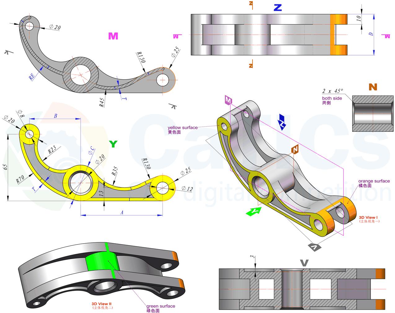 CaTICs竞赛 第13届 3D13-H03 solidworks 3D建模试题 第十三届网络赛